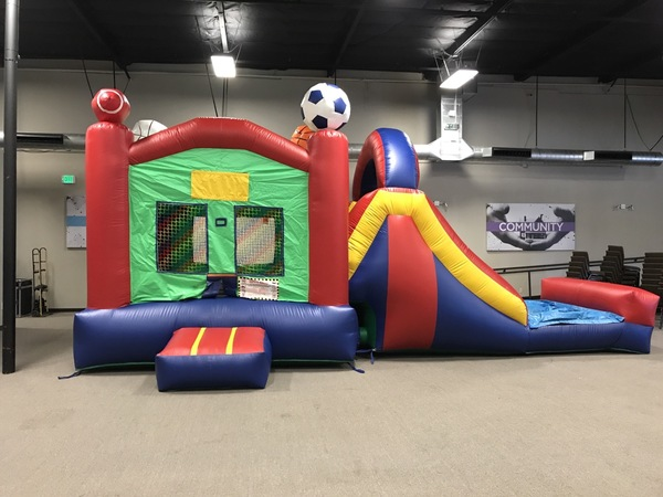 Sports Combo Bounce House With Water Slide