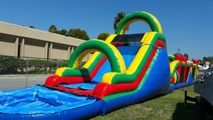 72' Giant Obstacle Course With Water Slide And Pool.