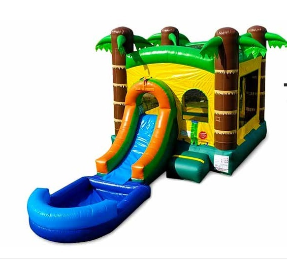 Tropical Bounce House with Waterslide and Pool.